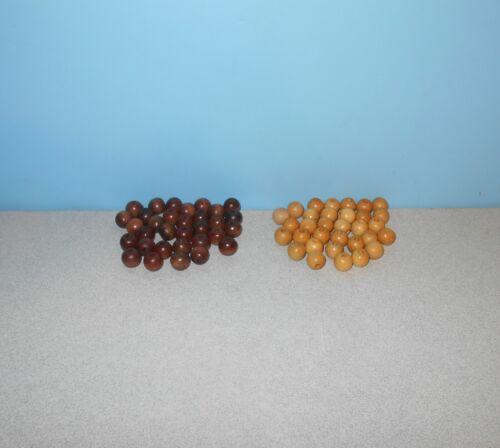 1968 Four Score 3D 3 Dimension Game Full Set of 64 Wood Brown /& Tan Beads