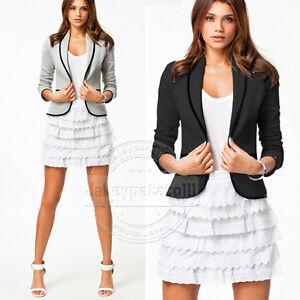 UK-Womens-Ladies-Casual-Blazer-Jackets-Suit-Coat-Black-Grey-Size-10-12-14-16