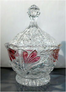 Decorative-Cut-Glass-Lead-Crystal-Candy-Dish-Bowl-with-Lid