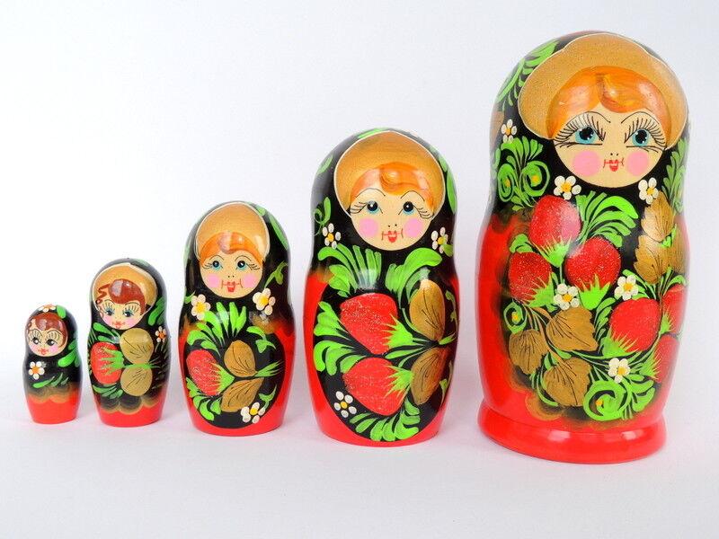 Lot de 5 vintage russe soviétique poupées russes en bois d'empilage matriochka figurines