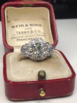 Estate Antique Platinum 2.22CTW Old Euro Diamond Engagement Ring 7 Gram Size 5.5