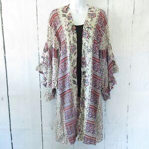 New-Angie-Kimono-M-Medium-Ivory-Floral-Aztec-Paisley-Ruffle-Sleeve-Boho-Peasant