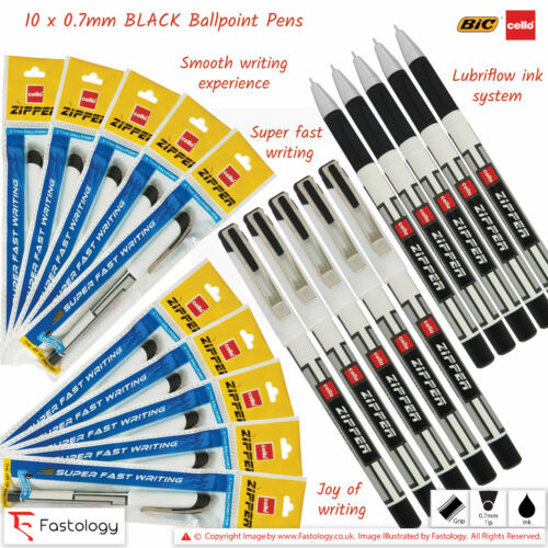BIC CELLO Zipper 0.7mm Tip BLACK BLUE RED Lubriflow Ballpoint Pens Super Smooth