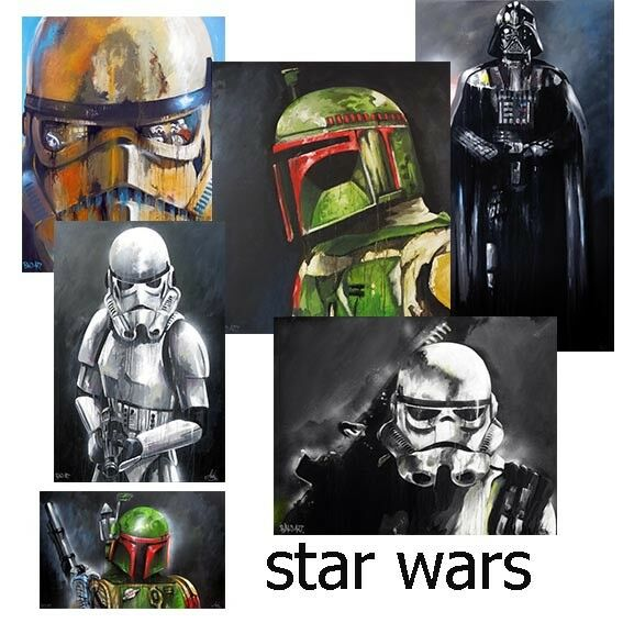 Star wars street art painting print signed Andy Baker canvas Australia boba fett