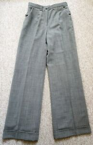 Austin Reed Black White Wool Suit Trousers Wide Leg Turn Ups Uk10 New Ebay