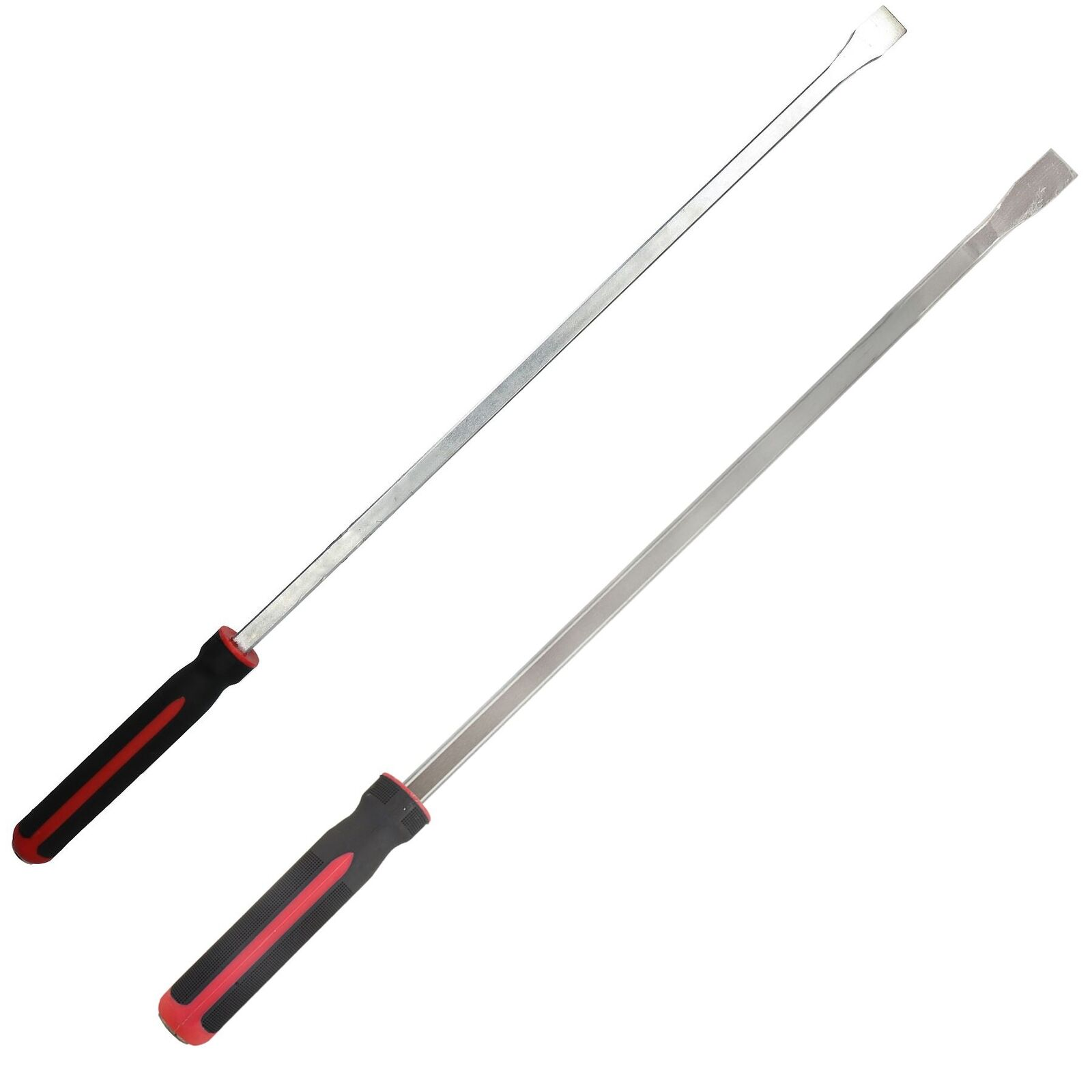 2pc Extra Long 36    3 Feet Straight and Angled Pry Bar Set Crow Bars Lever