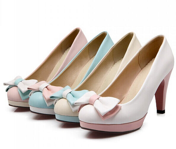 2016 New Ladies Platform Bowknot Pumps Sweet Candy Lolita Wedding Bridal shoes