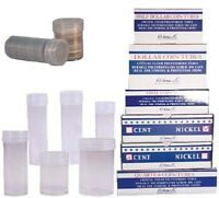 Box Of 100 Harris Large Dollar Coin Tubes, Round Clear Large Dollar Coin Tube