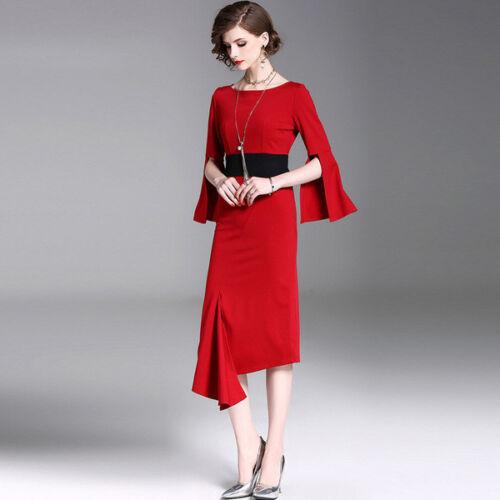 Elegante Tubino Slim Vestito 4271 Comodo Amplie Morbido Rosso Abito Maniche rxErCUwRq