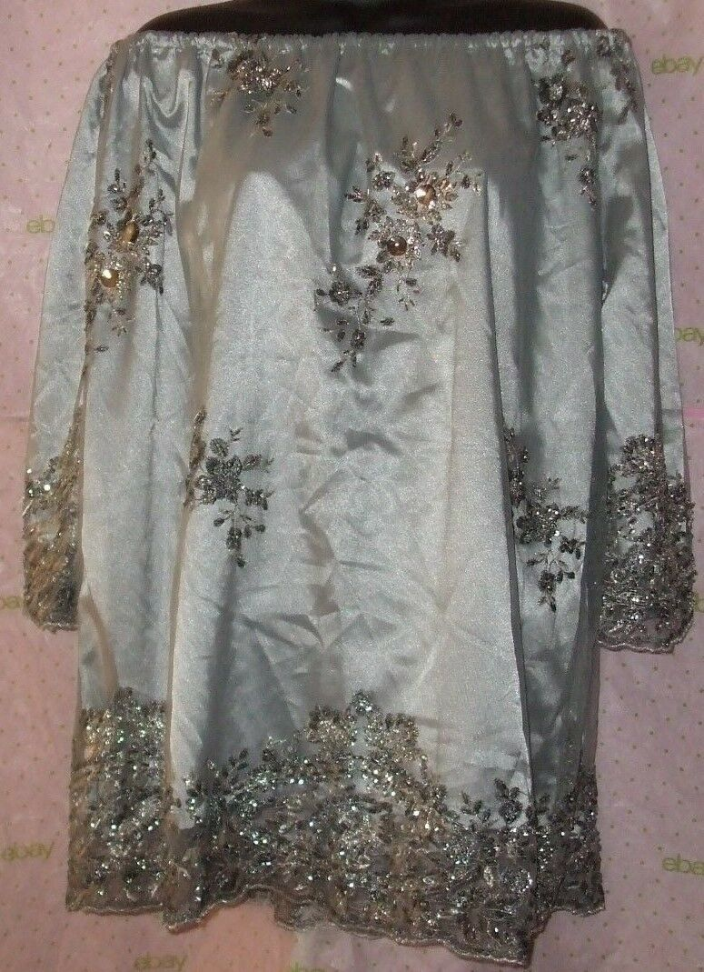 New  MIGOO faux diamond FLORAL EMBELLISHED EMBROIDErot LINED top