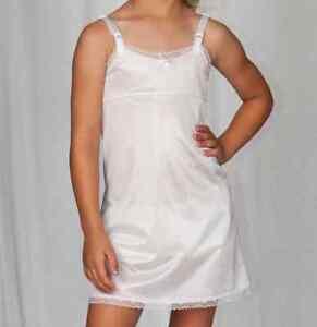 Girls-Full-Straight-Slip-Nylon-Empire-Waist-Knee-Length-4-14-USA-Adjusts-USA