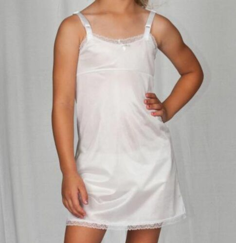 Girls Full Straight Slip Nylon Empire Waist Knee Length 4-14 USA Adjusts USA