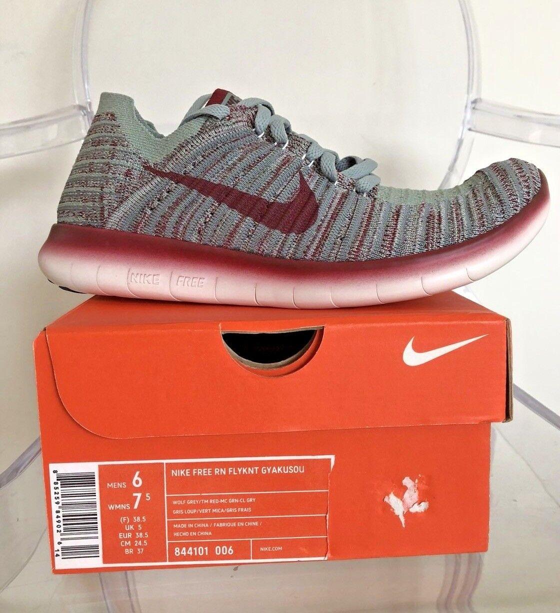 Nike Free RN Flyknit Gyakusou 844101 006 Wolf Grey TM Red M 6  W 7.5