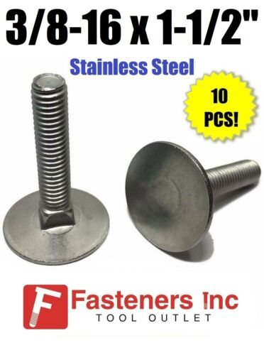 "Qty 10 3//8-16 x 1 1//2/""  Stainless Steel Elevator Bolt Full Thread"