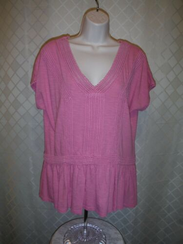 Short Sleeve V-Neck Blouses Sonoma size XL,LG,100/% cotton color Pink /& Yellow NW