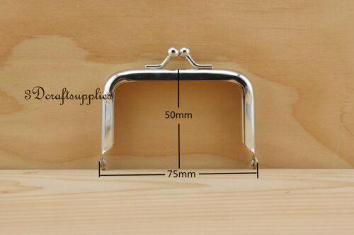 metal purse frame glue on clasp clip silver 3 inch X 2 inch A66
