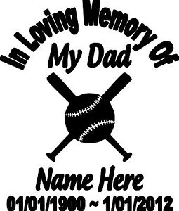 IN LOVING MEMORY OF MY DAD PERSONALIZED CUSTOM VINYL DECAL STICKER - Custom vinyl decals for trucks