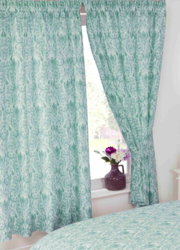 Annette Duck Egg Floral Damask Teal Blue Green White Bedding Or Curtains