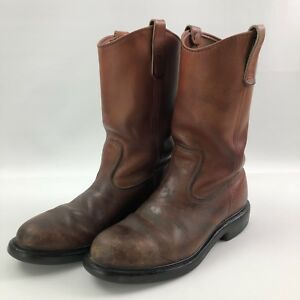 19aee5e502d VTG MENS RED WING SHOES BROWN LEATHER PECOS WESTERN WORK BOOTS 1193 ...