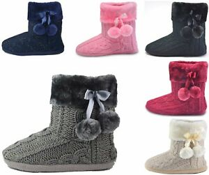 Slippers-Womens-Warm-Indoor-Slipper-Boots-Ladies-Booties-Girls-size-3-4-5-6-7