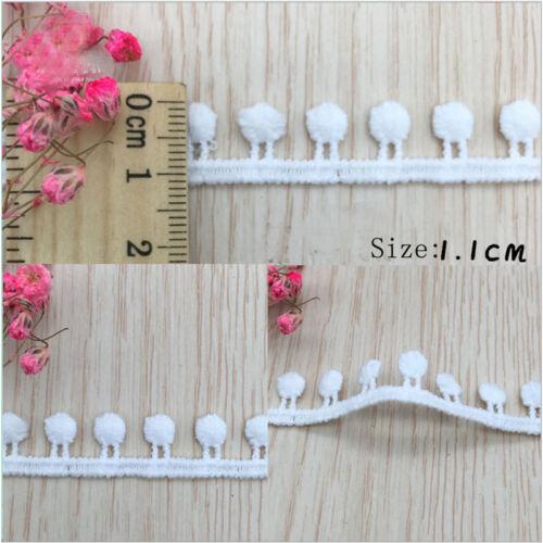1-10Yrds DIY White Cotton Crochet Lace Trim Wedding Elastic Ribbon Sewing Fabric