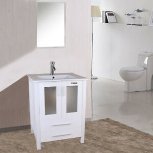 Details About 24 Inch White Bathroom Vanity W Drop In Rectangle Ceramic Sink Faucet Mirror