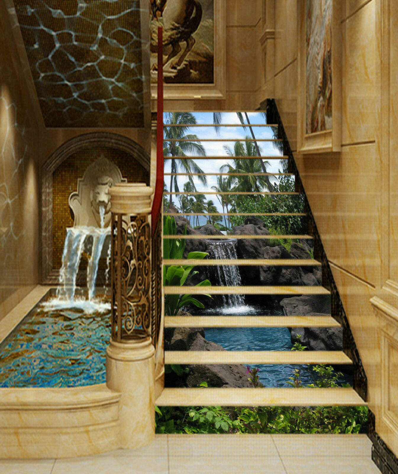3D Stein Fluss 467 Stair Risers Dekoration Fototapete Vinyl Aufkleber Tapete DE