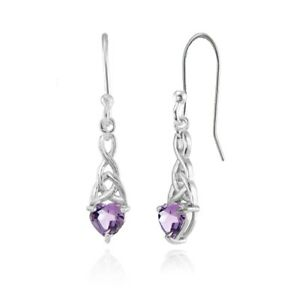 Dainty-6x6mm-Heart-Amethyst-Celtic-Knot-Dangle-Earrings-in-Sterling-Silver