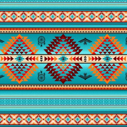 Tucson  By The yard fabric Turquoise stripe cotton print Elizabeth Studios