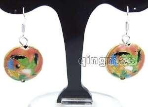 SALE-Beautiful-18mm-Pink-Round-Cloisonne-Beads-Dangle-1-5-039-039-earring-ear512