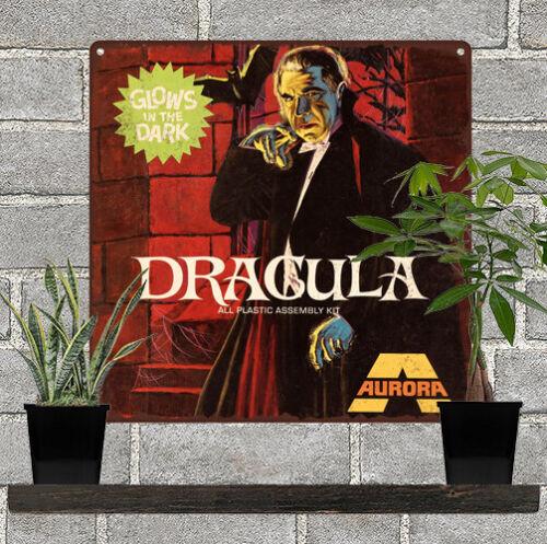 "Aurora Dracula Glow in the dark model Garage Man Cave Metal Sign 12x12/"" 60765"