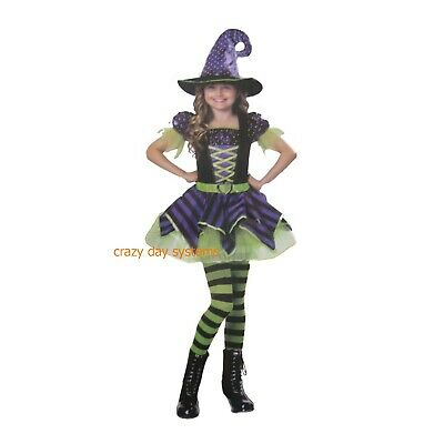 CK256 Long Elegant Witch Girl Book Week Party Halloween Fancy Dress Costume