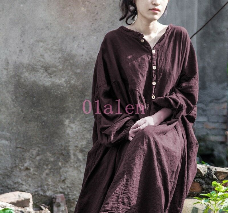 Long Sleeve Retro Cotton Linen Casual Women Loose Balloon Maxi Shirt Robe Hot
