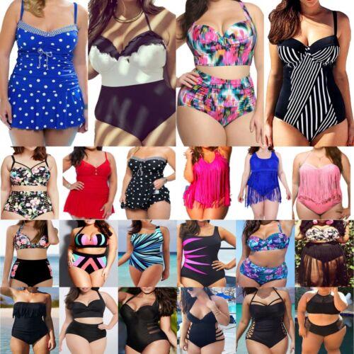 Übergröße Damen Badeanzug Gepolstert Push Up Bikini Set Monokini Schewimmanzug