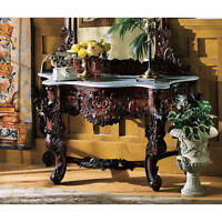 Hand Carved Mahogany Antique Replica Floral Scrollwork Marble Top Console Table