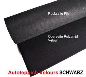 Autoteppich-Velours-Schwarz-Leicht-Meterware-Oldtimer-Jungtimer-Tuning-OB