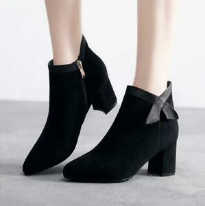New-Women-Ladies-Ankle-Boots-Winter-Warm-Fur-Lined-Mid-Heel-Chunky-Shoes-Booties
