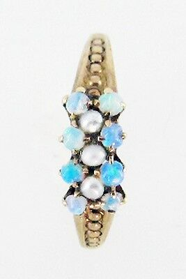 Vintage Victorian Opal Seed Pearl Gold Heirloom Estate Jewelry Ring