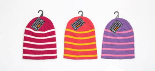 KIDS GIRLS HAT THERMAL STRIPED WINTER BEANIE HAT PINK PURPLE DARK PINK
