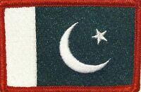 Pakistan Flag Patch With Velcro® Brand Fastener Red Border