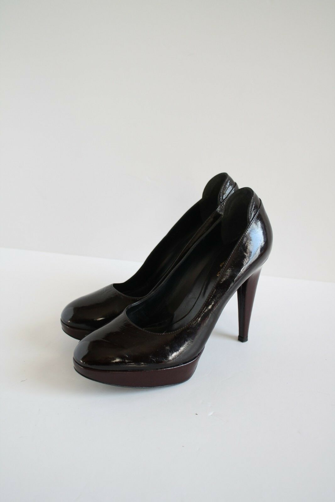 Sergio Rossi marron Cuir Verni Escarpins 38.5 UK 5.5