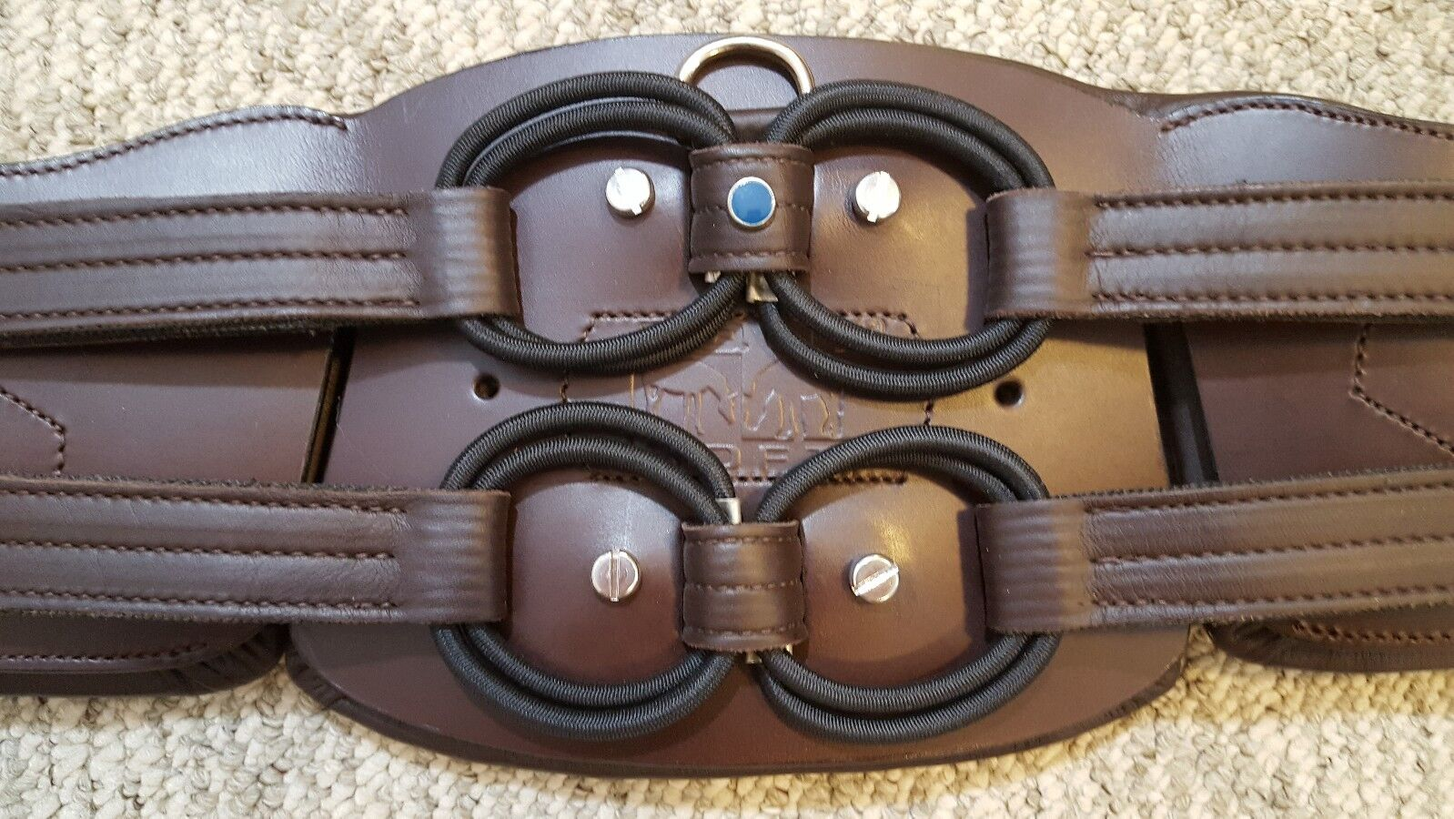 STUBBEN 703 Comfort EQUI-SOFT Ergonomic Flexible Girth Brown 48  w Neoprene Pad