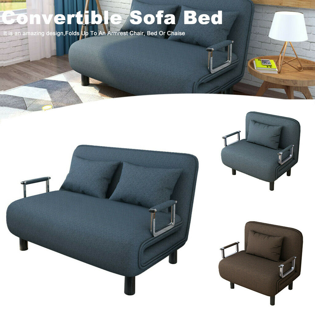 Convertible Folding Sofa Bed Arm Chair Sleeper 5 Position Re