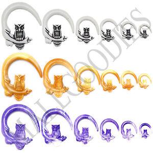 V124-Spiral-Owl-Plugs-Gauges-8-6-4-2-0-00G-White-Black-Beige-Brown-Purple-Violet