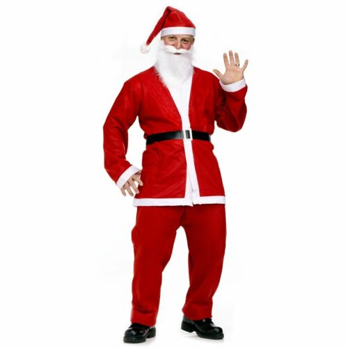 MENS BUDGET 5 PIECE SANTA CLAUS FATHER CHRISTMAS FANCY DRESS COSTUME
