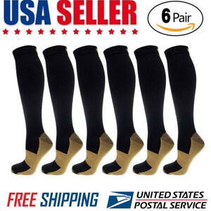 c812f24b2 6 Pairs Compression Socks 20-30mmHg Graduated Men Women Sport Socks ...