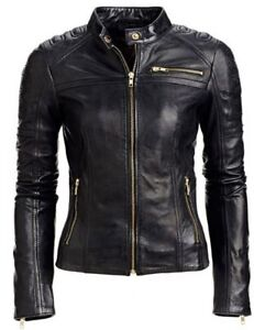 Biker Women Fit Leather Black Style Slim Jacket Quality High CCtBFqwr