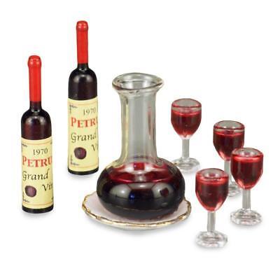 CHIANTI BOTTLE 2 WINE GLASSES Reutter Porcelain DOLLHOUSE MINIATURES 1:12 SCALE