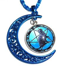 BLUE MOON BLACK CAT PENDANT wicca pentagram pentacle necklace pagan kitty new 3F