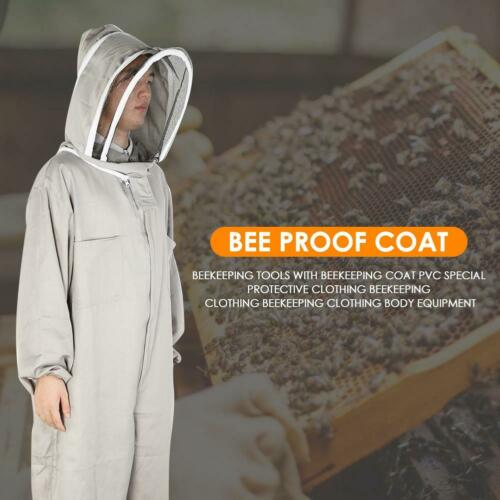 Full Body Beekeeping Suits Clothes Cotton Anti-bee Coat Veil Hood XL-Size Grey